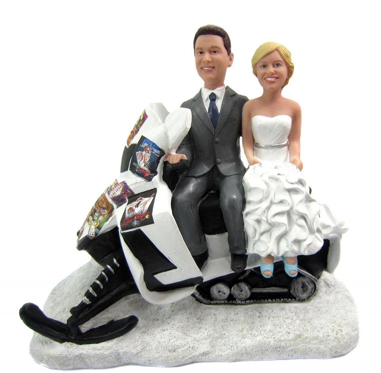 Custom Snowmobile Wedding Cake Topper