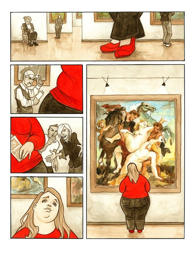 """""""Wrong Century"""" — Illustration by artist Tomas Kucerovsky depicting the fate of plus-size beauty in the modern age.    Interesting."""