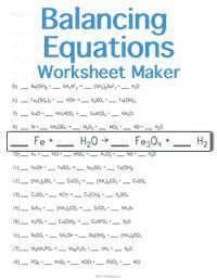 Balancing Chemical Equations Worksheet  See Balancing Equations