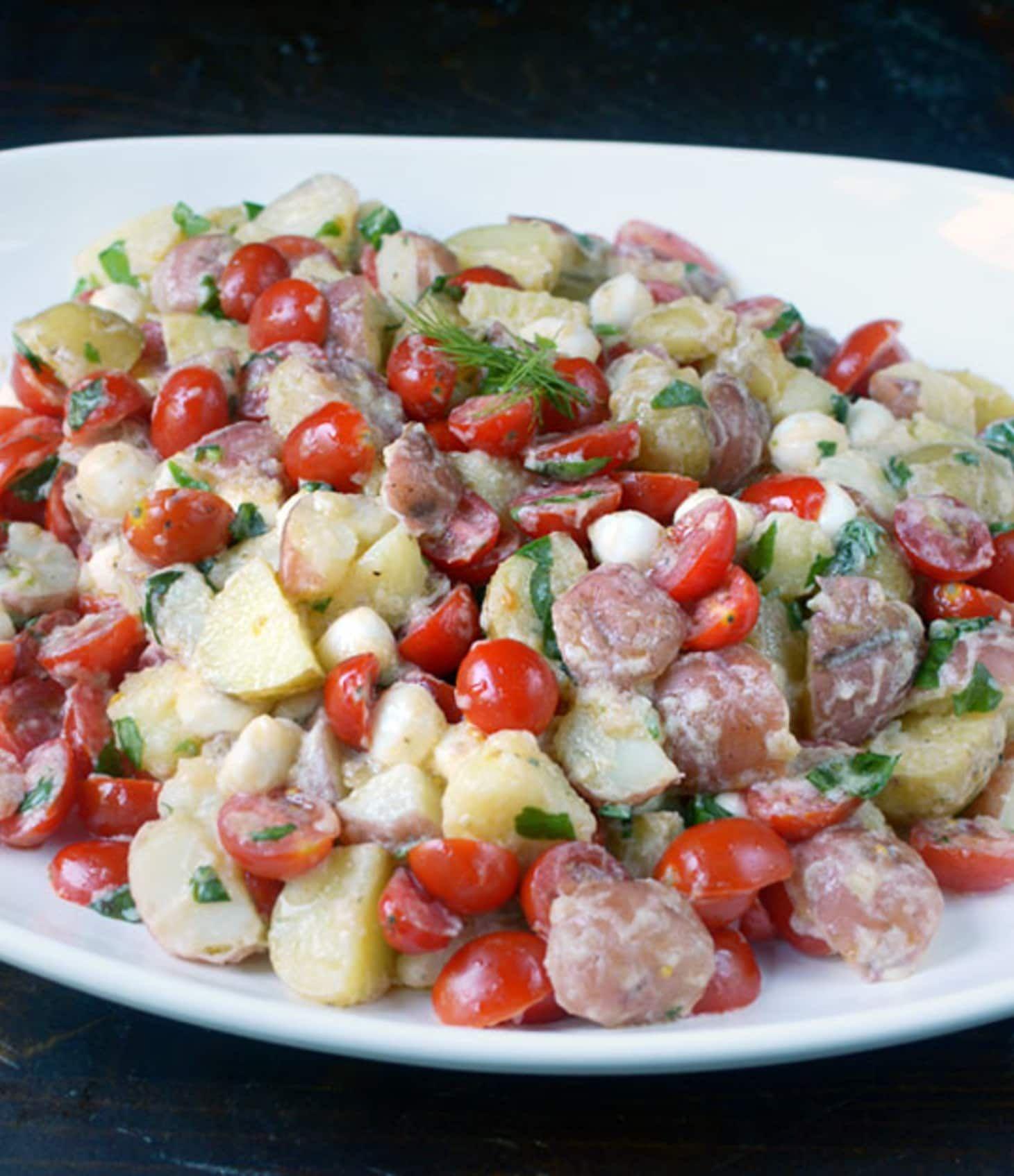 Recipe Tomato Mozzarella Potato Salad With Lemon Buttermilk Dressing Recipe Tomato Mozzarella Potato Salad Salad