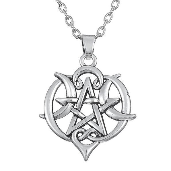 Crescent Moon Pentacle Wiccan Pagan Pentagram Chain Lengths
