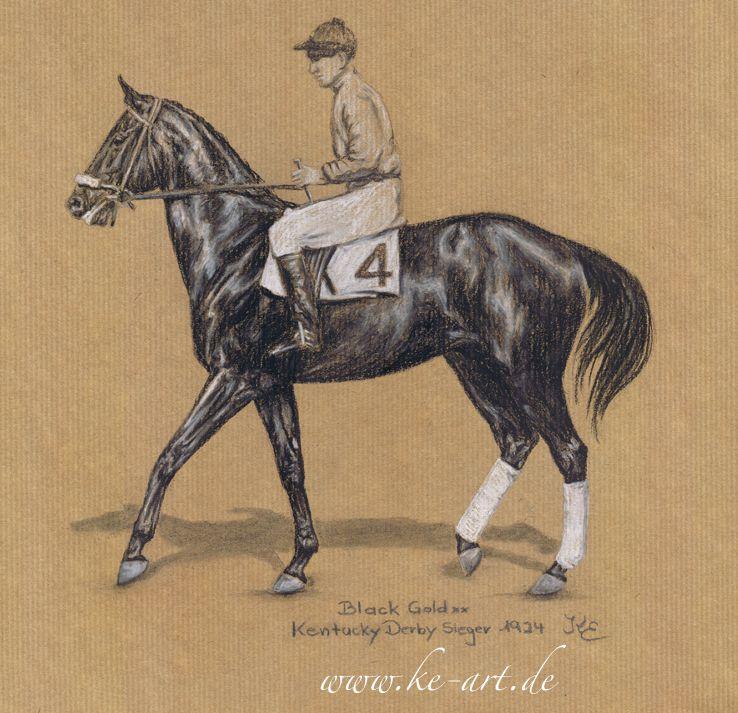 Black Gold xx - 1924 Kentucky Derby winner - drawing by Katja Eichhorn