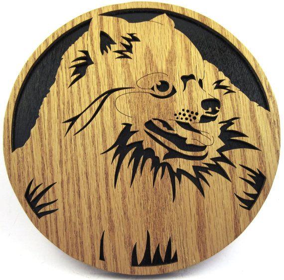 Wall plaque of a Pomeranian dog scroll saw cut--31df
