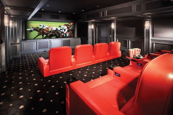 Red Home Theater Rooms Perfect Hot Home Theater Design With