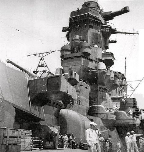 forward superstructure and bridge of battleship musashi navy