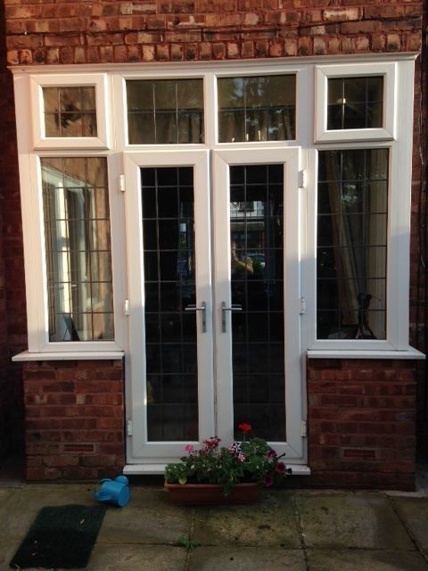 upvc white french doors and bay windows inc top windows on