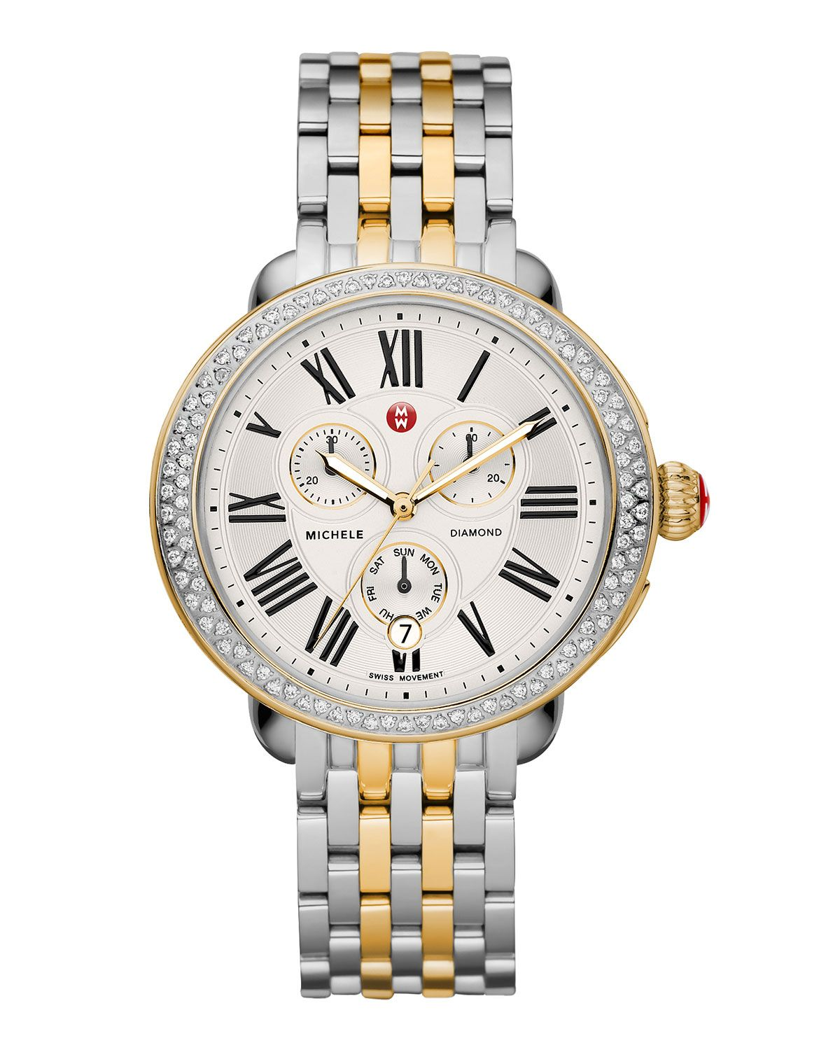 18mm Serein Diamond Two-Tone Watch Head, Women's, SILVER GOLD - MICHELE