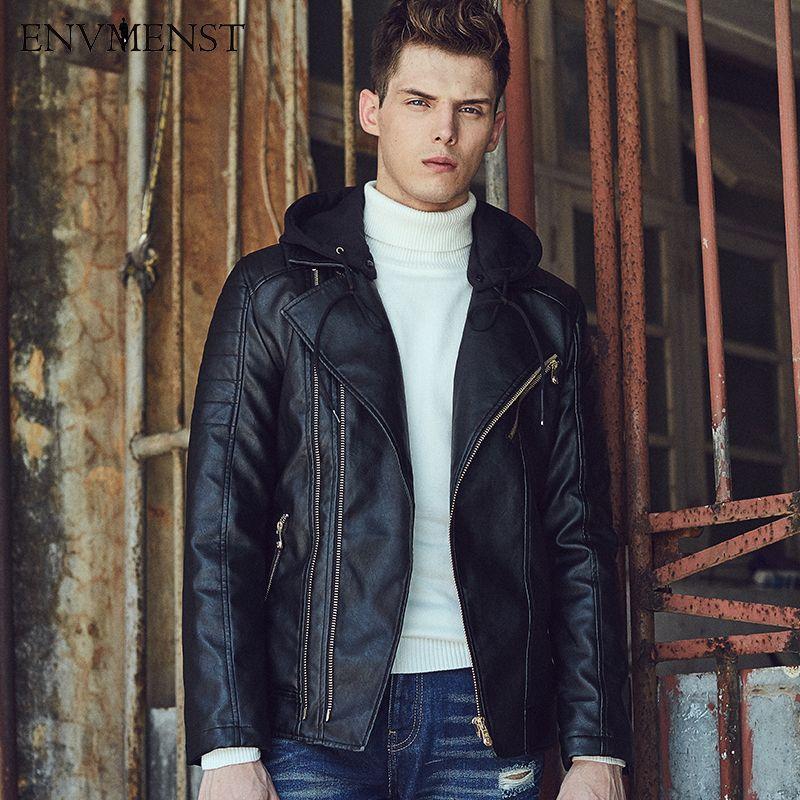 >> Click to Buy << 2017 Envmenst pu leather motorcycle men jacket fashion streetwear zipper Hooded male short paragraph slim size coat M-3XL #Affiliate