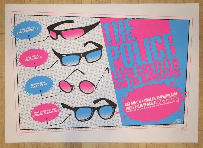 2008 The Police - West Palm Beach Pink Silkscreen Concert Poster by Stainboy