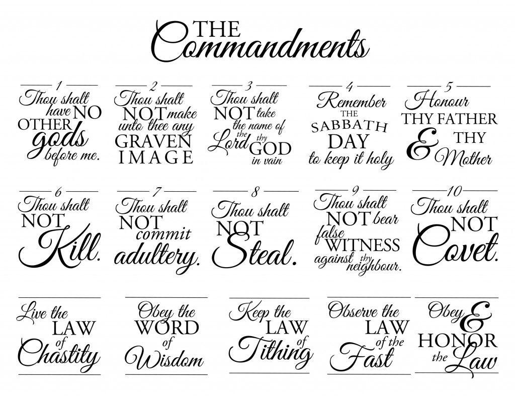The Commandments | Lds sunday school lessons, Lds sunday school, 10 commandments