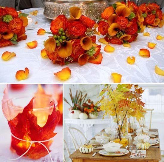 Hochzeit mit herbstbl ttern hochzeit idee http www for Hochzeitsdeko tisch ideen