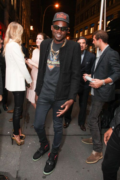 Theophilus London wearing Nike Air Yeezy 2 Black Solar Red ... 317910e84
