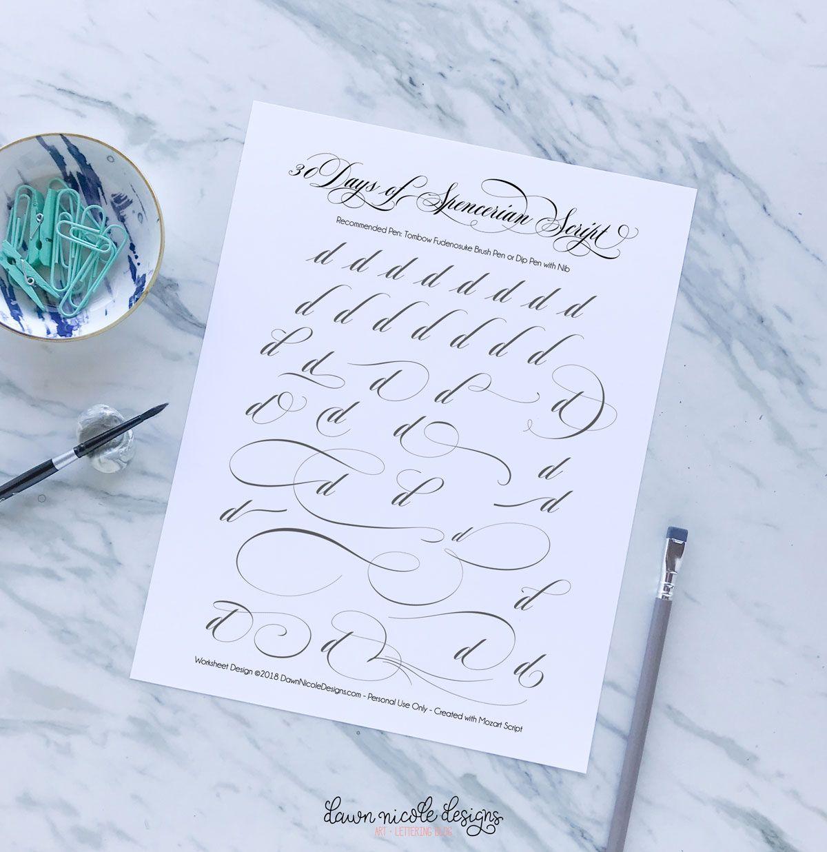 Spencerian Script Style Letter D Worksheets