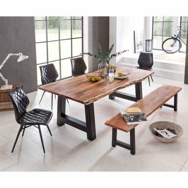 Esstischgruppe Sadello mit Baumkanten Tisch und Bank (6