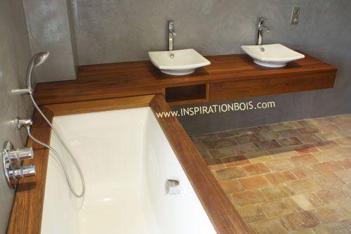 Salle de bain en Teck, béton ciré et tomettes Salle de bain
