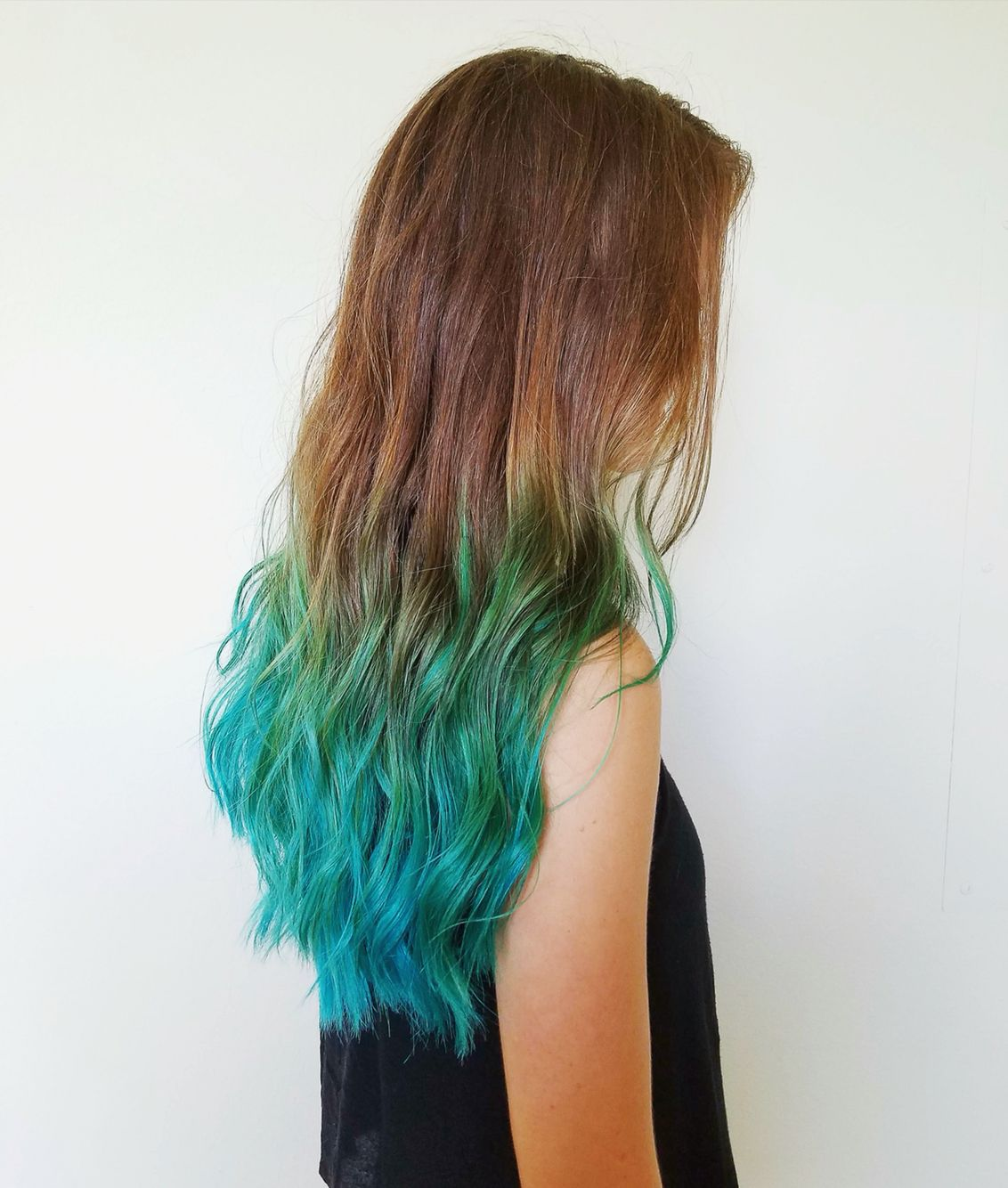 Ombre teal hair with beach waves