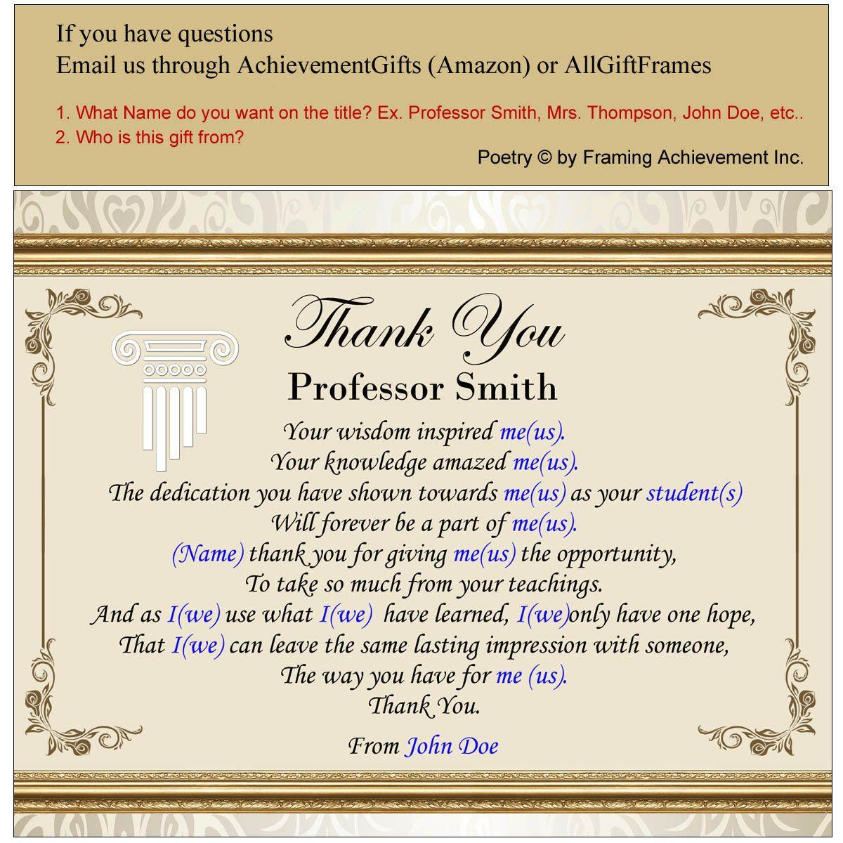 Teacher Thank You Gift Plaque Mentor Educator Professor Student Graduate Present