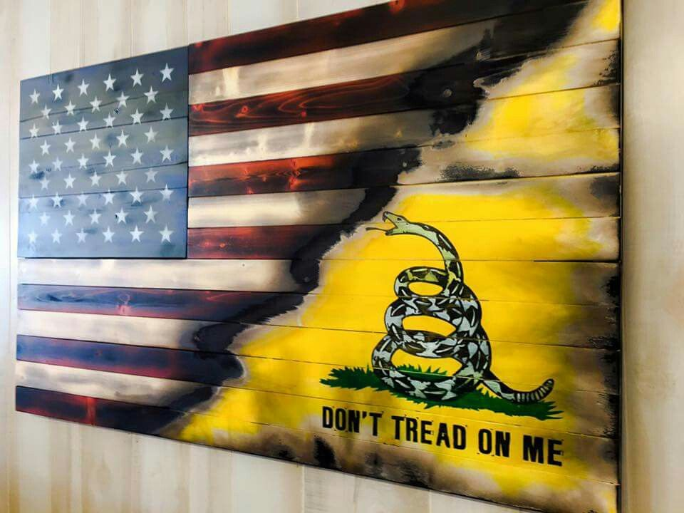 American With Torn In Gadsden | Flags, Wall hangings and Walls