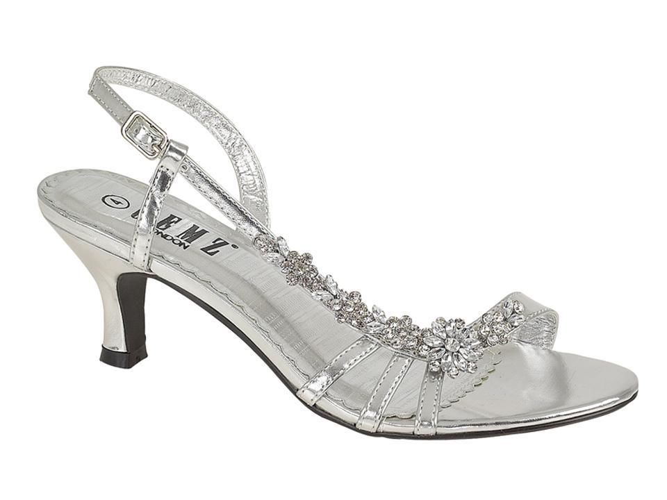 Silver Flower Diamante Bridal Wedding Party Low Heel Sandals Size 3 4 5 6 7 8 Bridal Shoes Low Heel Silver Low Heels Silver Wedding Shoes