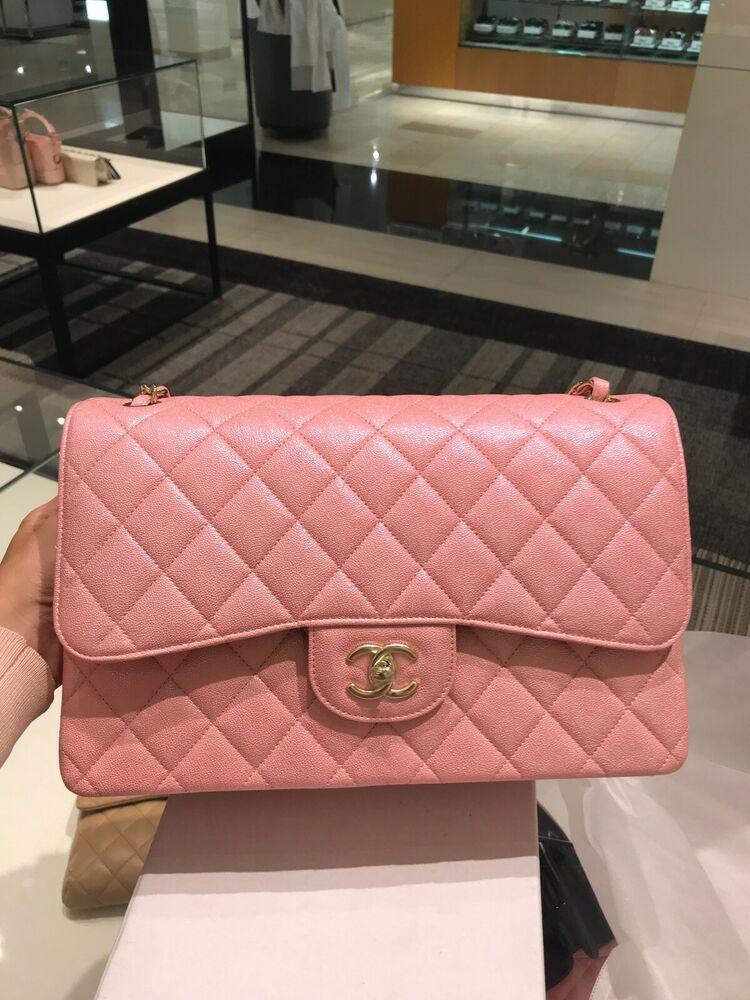 7b61df13ca Auth BNIB Chanel Caviar Iridescent Pink Jumbo Flap Bag 19S Lt Gold Hardware