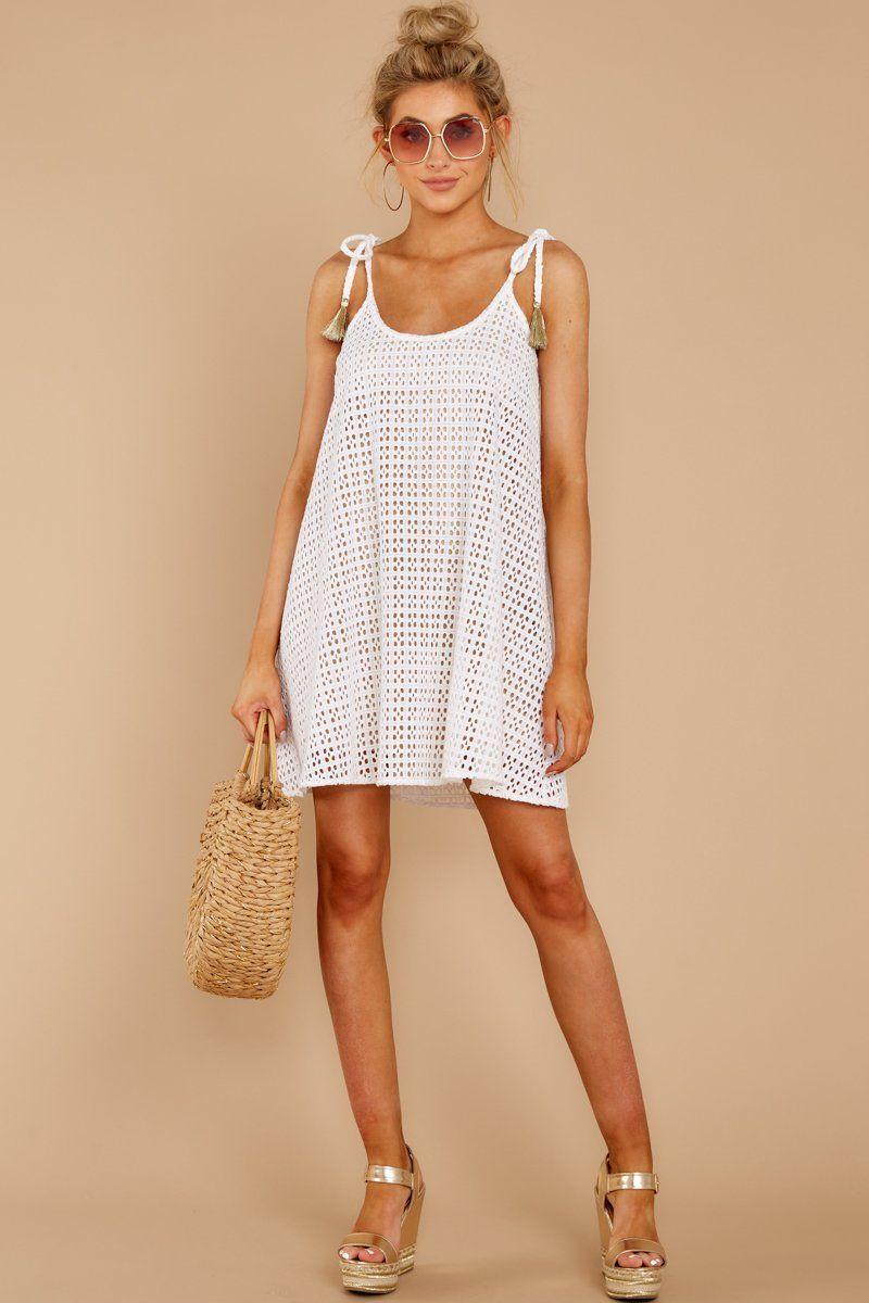 ad67540d44c Judith March White Crochet Dress - Short Shift Dress - Dress -  114.00 – Red  Dress