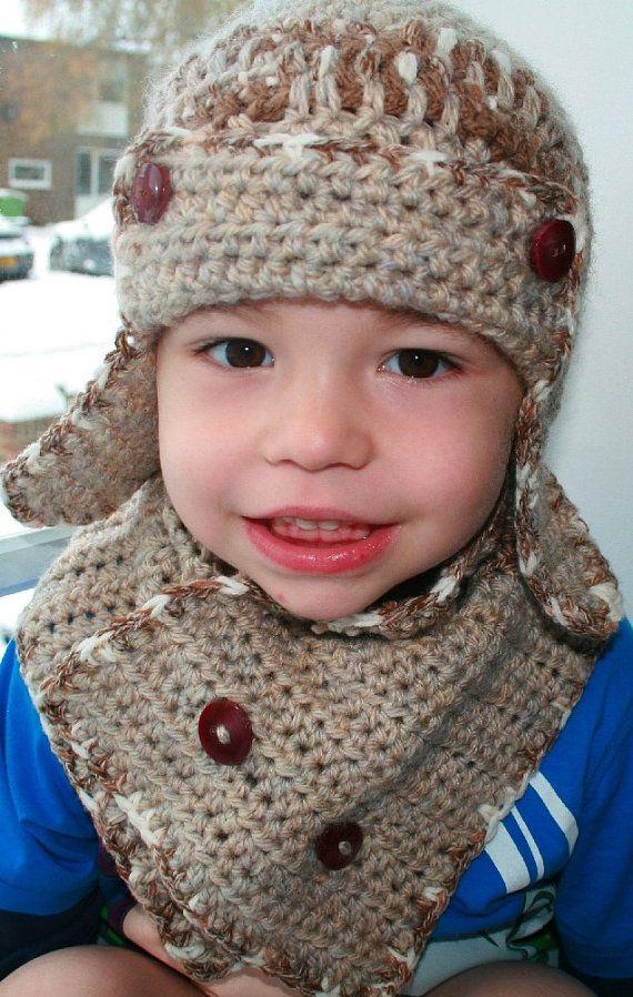 Crochet pattern, baby aviator hat pattern with scarf crochet pattern ...