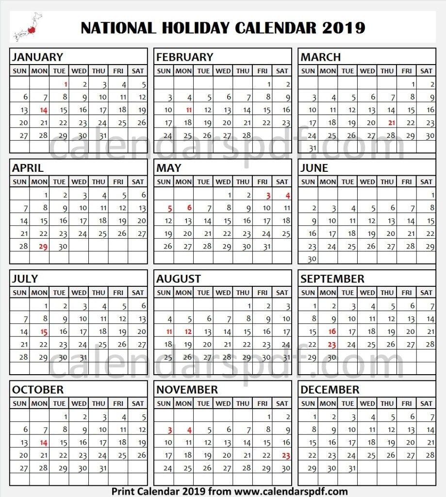 Calendar 2019 Japan Holidays National holiday calendar