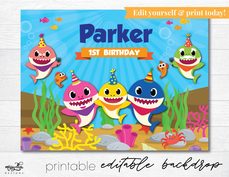Baby Shark Backdrop Editable Pdf Printable Backdrop Baby Shark Party Baby Shark Printa Shark Themed Birthday Party Shark Party Supplies Shark Theme Birthday