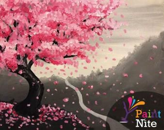 we host painting events at local bars cherry blossom paintingjapanese - Japanese Garden Cherry Blossom Paintings