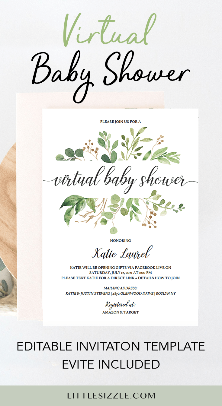 Greenery Virtual Baby Shower Invitation Template In 2020 Virtual Baby Shower Invitation Virtual Baby Shower Virtual Baby Shower Ideas