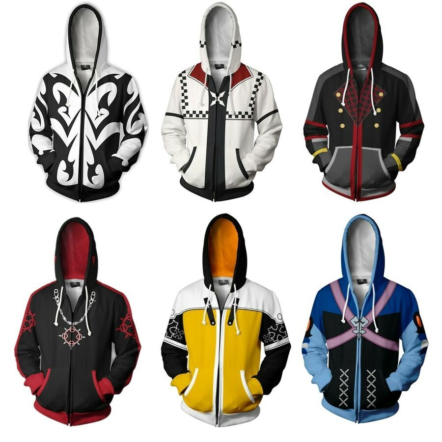 Kingdom Hearts II 2 Xemnas Hoodie Zipper Jacket Coat Cosplay Costume Sweatshirt