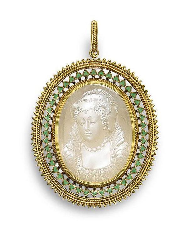 A gold, enamel and moonstone cameo pendant, by Carlo Giuliano,