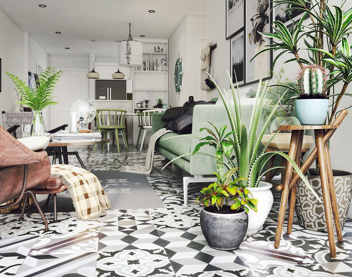 green interiors, cati and plants