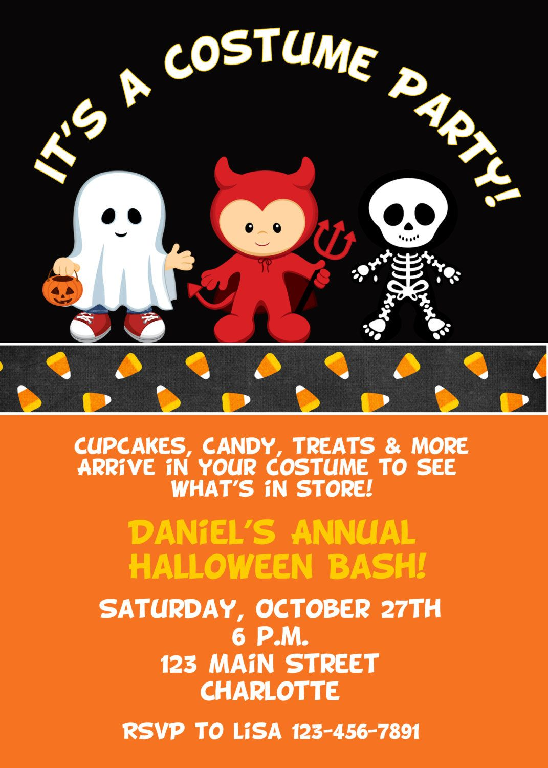 Halloween costume party invitation Halloween costume birthday – Halloween Costume Party Invite
