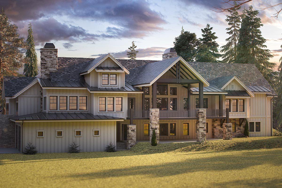 Plan 95080rw Deluxe Mountain Craftsman House Plan With 4 Car Garage Craftsman House Craftsman House Plan Modern Farmhouse Plans