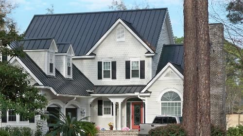 Typical Projects Roof Crafters Com Black Metal Roof Grey Houses Metal Roof