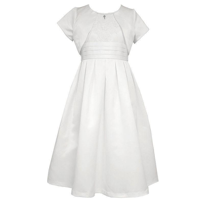 7f181702614 Girls Plus Size Bonnie Jean Matte Satin Dress with Cross Necklace & Shrug  Set, Girl's, Size: 12 1/2, White