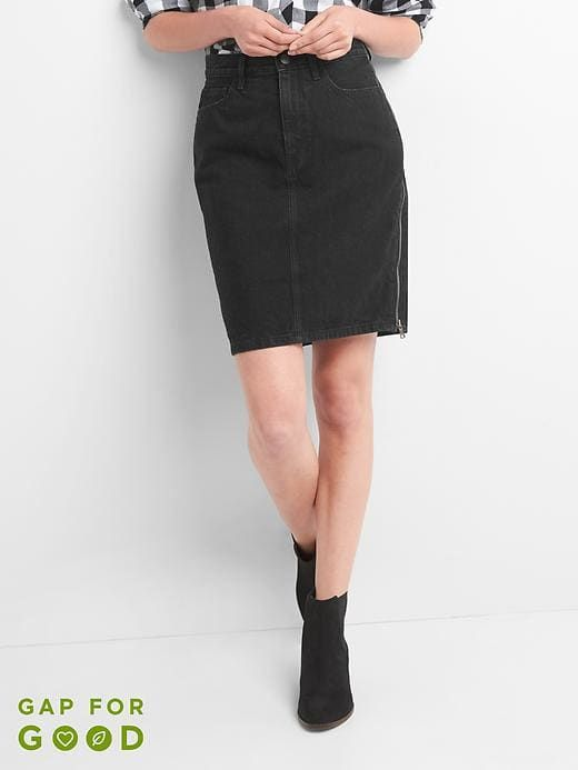 b53731e47532 Gap Womens Side-Zip Denim Pencil Skirt Washed Black Size 25 ...