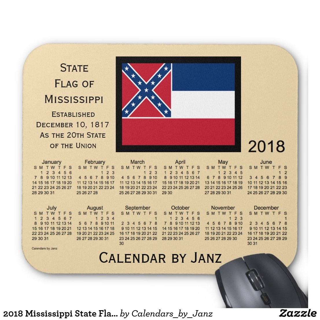 2018 Mississippi State Flag Calendar by Janz Mouse Pad