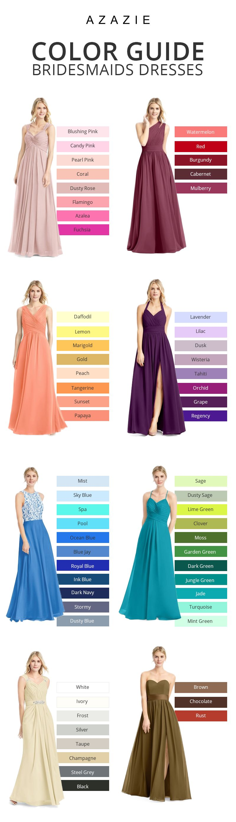 Best color dress to wear to a wedding  A brideus best friend Azazie offers  colors for you to choose
