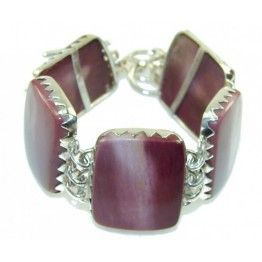 925 SOLID STERLING FINE SILVER AWESOME BROWN MOOKAITE BRACELET