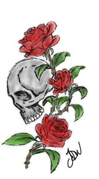 Skull And Rose Tattoo Rose Tattoo Color Tattoo Tattoos