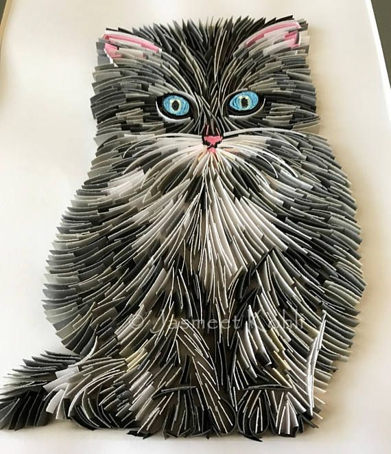 handmade Kitty cat paper quilling // paper quilled kitten ...