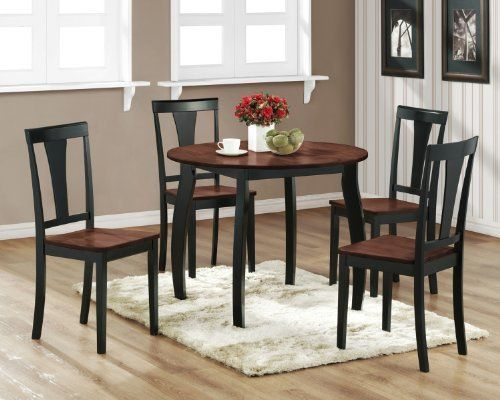 Miraculous 2 Tone Walnut Black Round Dining Room Kitchen Table And 4 Download Free Architecture Designs Ponolprimenicaraguapropertycom