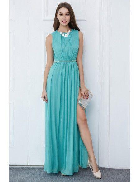 Modest A-Line Chiffon Long Wedding Party Dress With Split #CK512 ...