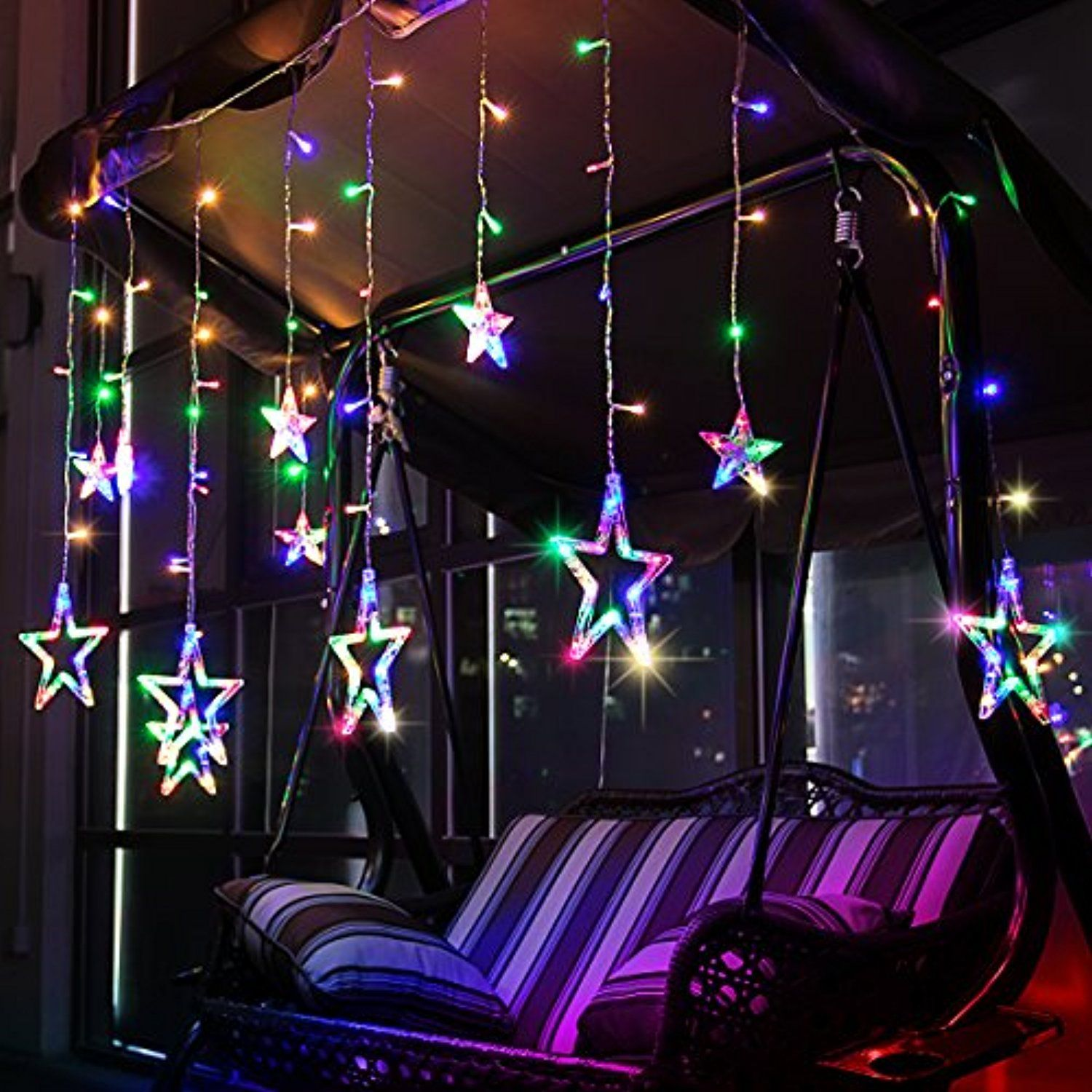 Star Curtain Lights Leorx 12 Stars 138 Leds Window Curtain Lights