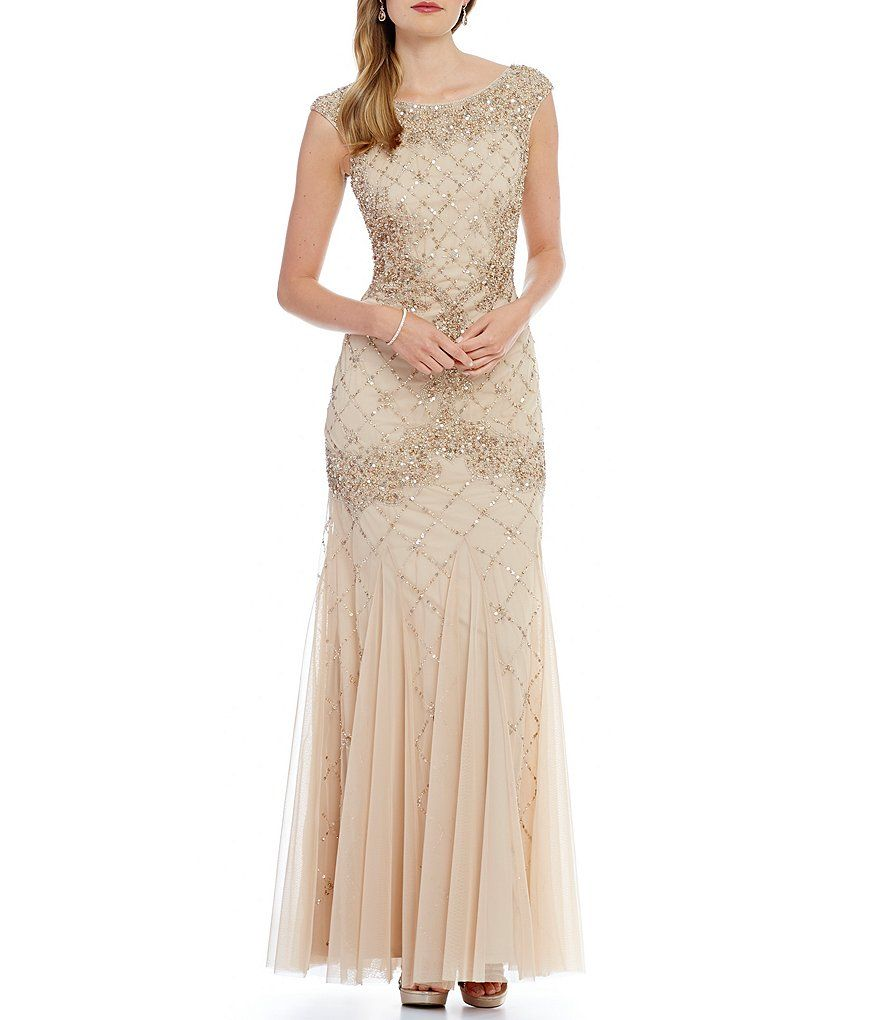 Shop for adrianna papell sleeveless fully beaded gown at for Fully beaded wedding dresses