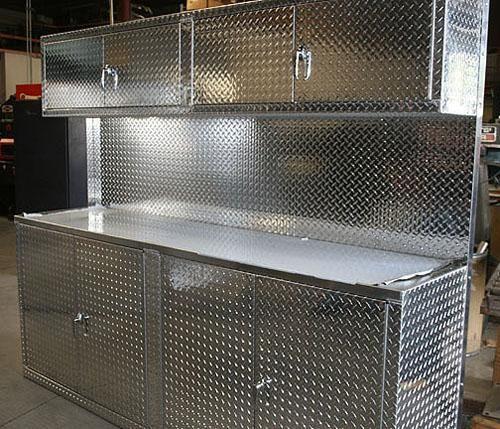 Car Guy Garage 8 Foot Set Of Diamond Plate Cabinets