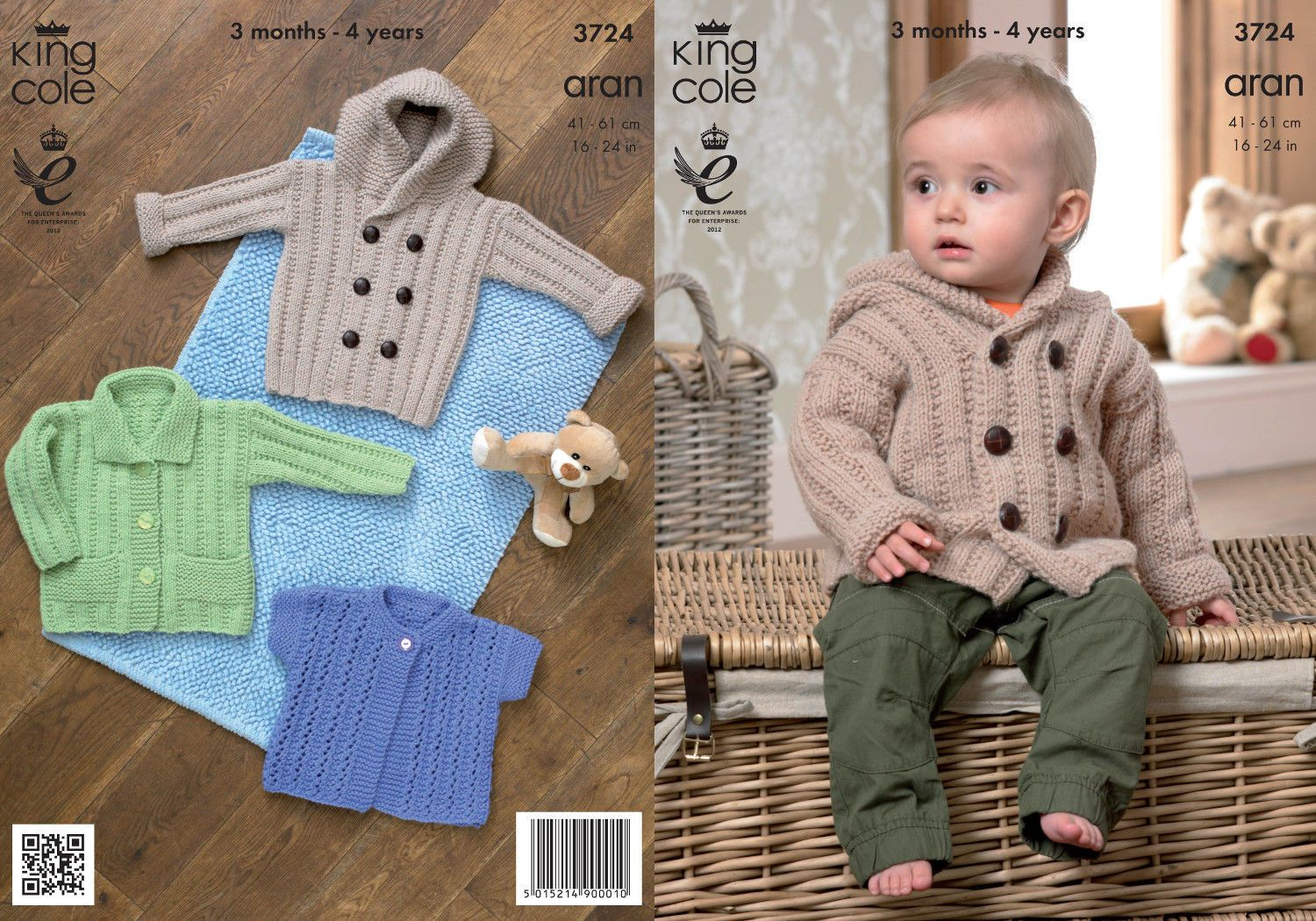2.89 GBP - King Cole Baby Aran Knitting Pattern Kids Hooded Coat ...