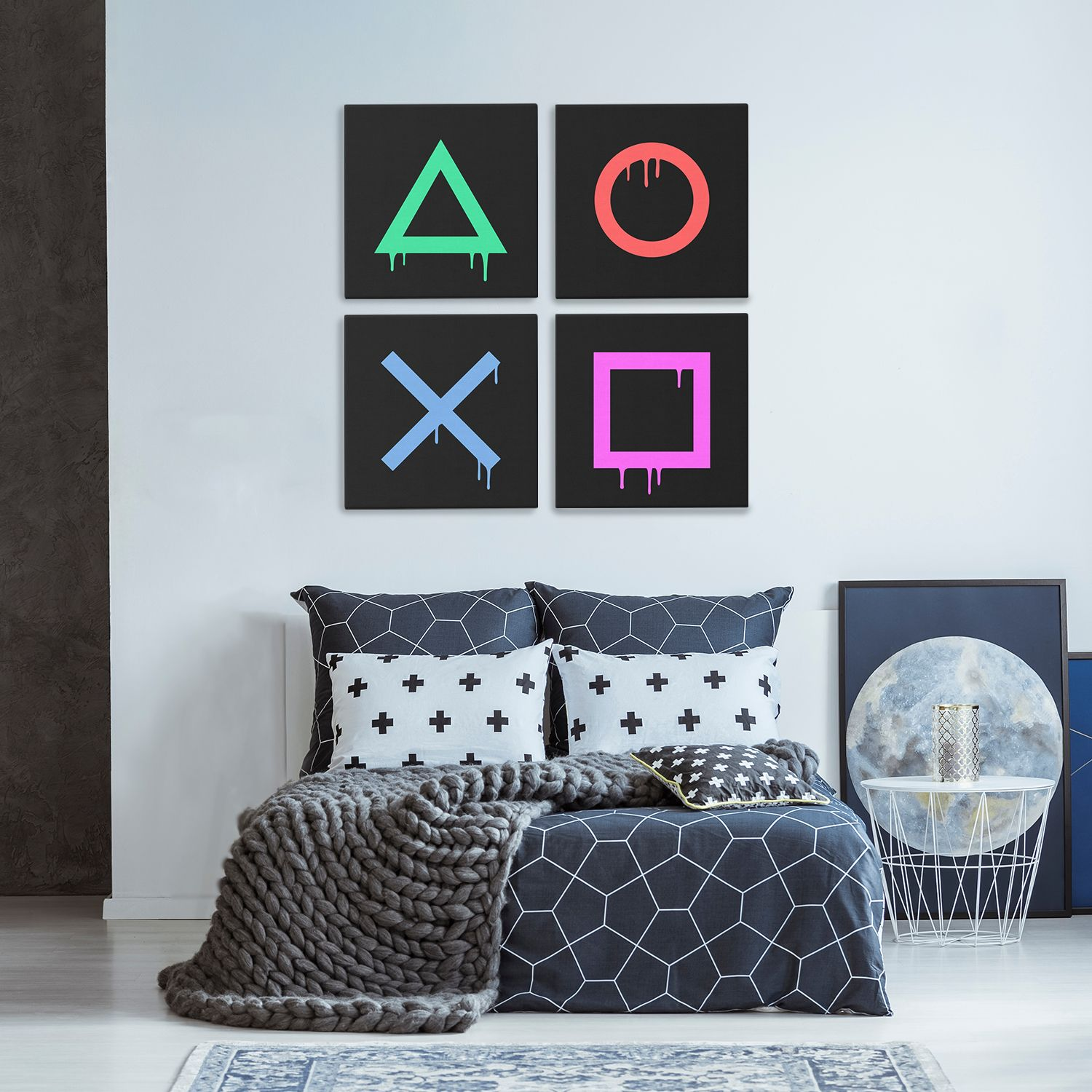 Playstation Buttons Game Room Canvas Wall Art In 2021 Playstation Room Game Room Decor Video Game Room Decor